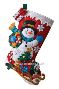 Buy Snowman With Present Stocking Felt Applique Kit Online at www.sewandso.co.uk