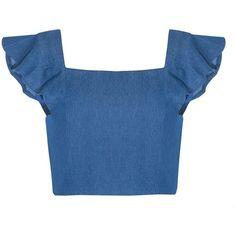 Denim Ruffled Top (1 295 UAH) ❤ liked on Polyvore featuring tops, shirts, crop tops, blue, frilly shirt, flutter-sleeve top, blue ruffle shirt, cropped denim shirt and flutter crop top
