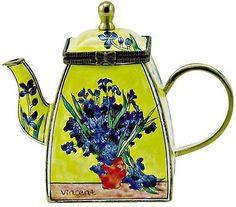 KELVIN CHEN Enamel Mini Handpaint Copper Teapot - IRIS by Van Gogh