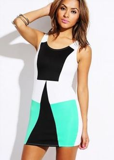 Frosted Mint, Black and White Dress