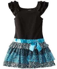New Girls Rare Editions sz 2T Black Turquoise Leopard Sparkle Dress Fall $55 NWT