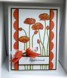 Stamps:  Pleasant Poppies, Teeny Tiny Wishes  Paper:  Soft Suede, Calypso Coral, Whisper White  Ink: Basic Black, markers  Accessories: ruffled ribbon, lace ribbon, designer brad  Tools:  Big Shot, Tasteful Trim bigz die, dimensionals