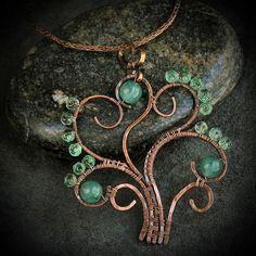 Tree of Life Necklace wire work pendant Tree Of Life Jewelry, Tree Of Life Necklace, Tree Of Life Pendant, Wire Jewelry Designs, Jewelry Crafts, Wire Wrapped Pendant, Wire Wrapped Jewelry, Copper Jewelry, Beaded Jewelry