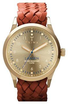 Triwa 'Lansen' Braided Leather Strap Watch, 38mm