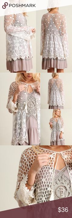 ❤️LAST❤️  Lace Crochet Cream Open Cardigan Brand new, darling lace crochet layering cardigan. Looks adorable over dresses or tank tops! Must have for any season! Size S M L. Runs true to women's sizing. Tops Tunics