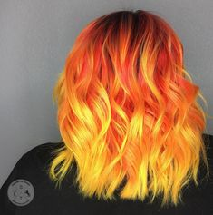 Fireball Something hot to warm up this quick onset of Vegas winter. Fireball Something hot to warm up this quick onset of . Vivid Hair Color, Bright Hair Colors, Beautiful Hair Color, Hair Dye Colors, Cool Hair Color, Fire Hair, Yellow Hair, Gray Hair, Aesthetic Hair