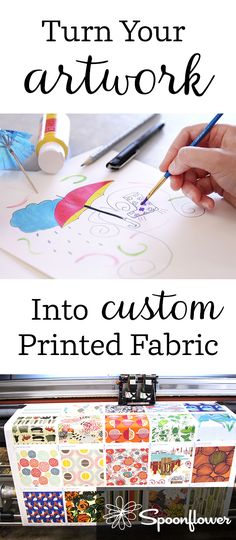 Turn Your Artwork into Custom Printed Fabric - Turn any design into fabric in a few easy steps with Spoonflower.  Click to see how it works.  All you need to get started is your drawing on paper or in digital form.  #design #illustration #makeit #sketch #lovetodraw #artist