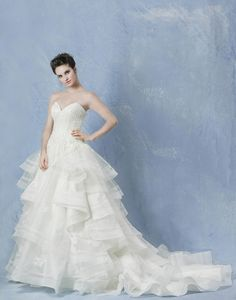"Anny Lin Bridal ""Marissa"" tulle tier ball gown, accented in swaroski crystals beading on alencon lace."