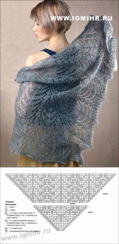 Мягкая серая шаль из мохера. Спицы