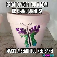 Children's foot prints for grandparents gift.