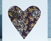 Handmade cards - pack of 5 (hearts aubergine)