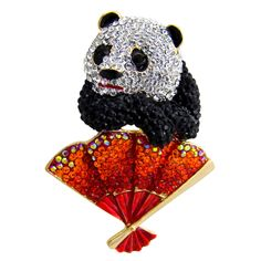 Butler & Wilson Crystal Panda with Fan Brooch featuring Swarovski crystal, it fastens with a post pin and revolver fastener.
