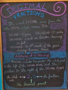 Waldorf ~ 5th grade ~ Math ~ Decimals   & Fractions ~ chalkboard drawing