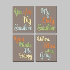Dinosaur Theme Colors Tan Green Blue Orange Yellow You Are My Sunshine 8x10 Set of 4 Wall Art Decor Prints Poster Nursery Child Kid Room