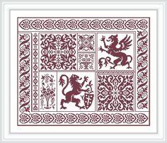 Collage sampler heraldic lion griffin Greek ornament fillet