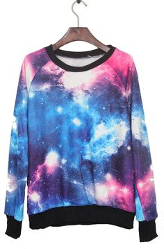 Round Neck Long Sleeve Blue Pink Galaxy Print Pullover Unisex Sweatshirt sold by SELLONWAN Brand© Official Site. Pastell Goth Outfits, Galaxy Sweatshirt, Pink Galaxy, Galaxy Fashion, Galaxy Print, Latest Street Fashion, Moda Fashion, Printed Sweatshirts, Trendy Outfits