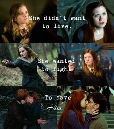 Yeaaaa I call bulls***. Both Ginny and Hermione are bad ass women that fought along side everyone else to help save Hogwarts and the wizarding world. They didn't do it for Ron and Harry, though Hermione had saved their lives countless times.