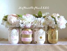 Baby Shower Centerpiece, Distressed Mason Jars, Polka Dots & Stripes, Baby Girl, Pink and Gold, Painted Vases, Wedding and Bridal, Rustic