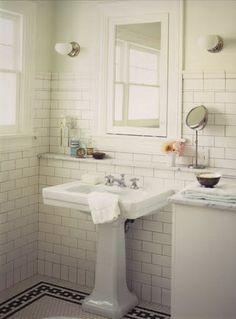 "black and white bathroom tile floor- ""old school house"" look."