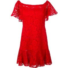 Valentino Macrame' Lace Dress (1.078.310 CRC) ❤ liked on Polyvore featuring dresses, red, off-the-shoulder lace dresses, mini dress, off the shoulder dress, short dresses and lace dress