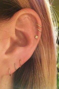 10 delicate piercing ideas that L. girls LOVE – Carissa 10 delicate piercing ideas that L. girls LOVE 10 delicate piercing ideas that L. Lobe Piercing, All Ear Piercings, Ear Peircings, Cute Piercings, Multiple Ear Piercings, Tragus Piercings, Unique Piercings, Double Helix Piercing, Body Piercings