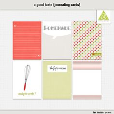 """Printable -- """"A Good Taste"""" Journaling Cards from Scooty's Designs {on Facebook}"""