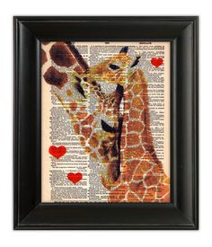 GIRAFFES Mother Baby LOVE Original Art Hand Painted Mixed Media Print Illustration on Antique English Dictionary Book Page 8x10. $10.00, via Etsy.