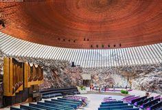 Temppeliaukion kirkko - nähtävyys nähtävyydet Helsinki Temppeliaukion kirkko katto sisäkatto evankelis-luterilainen evankelisluterilainen kiviseinä luterilainen luterilaisuus sisältä uskonto toimitus urut