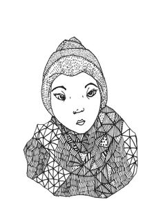 Girl with scarf nr. 1 by krisztiballa #krisztiballa #illustration #fashionillustration #fashion #scarf #details #bw #penandink