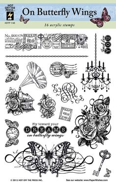 """16 beautifully nostalgic stamps! This 6""""x8"""" sheet of clear silicon stamps from Hot Off The Press features lovely vintage-themed stamps including butterflies, roses, clocks, keys and postmarks. Including sentiments such as """"Just for you"""" and """"Fly toward your dreams on butterfly wings,"""" this stamp set is perfect for celebrating classic moments! Use these stamps for family albums, scrapbook pages, handmade cards and all your other paper craft projects!"""
