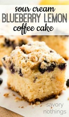 Are you sick of way too complicated coffee cake recipes? Then this is for you! The secret to this easy sour cream blueberry lemon coffee cake is so simple but makes an amazing breakfast treat or dessert!   savorynothings.com