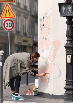 Artist, painter, street art, Fafi, Paris / Garance Doré