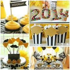 black, white and yellow themed graduation party with yellow cupcakes, popcorn, cookies, candy and tablescape