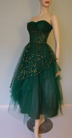 1950s Hand Decorated Strapless Tulle Party Dress - Pleated Bodice - Layered - New Years Sparkle. $220.00, via Etsy.