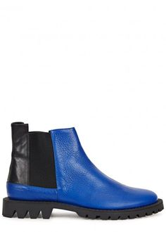 Canal blue leather Chelsea boots