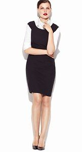 Great look for work: Ann Taylor Cap Sleeve Sheath Dress with button down underneath
