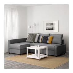 IKEA - FRIHETEN, Corner sofa-bed with storage, Skiftebo dark gray, This sofa converts quickly and easily into a spacious bed when you remove the back cushions and pull out the underframe. Sofa, chaise and double bed in one. Sectional Bed, Ikea Sofa Bed, Sofa Bed With Chaise, Sofa Couch Bed, Sleeper Sofa, Lounge Sofa, Floor Couch, Leather Sectional, Corner Sofa Bed With Storage