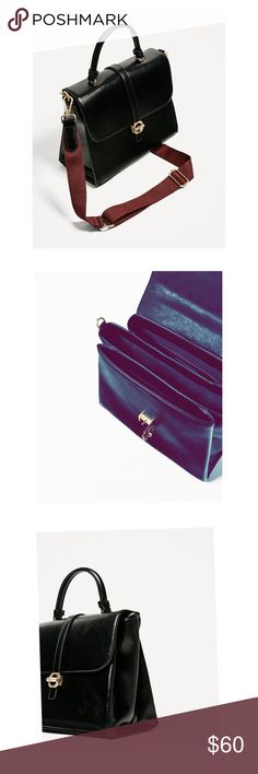Zara Multi Strap Bag City bag lined with three compartments and pocket. Adjustable and detachable shoulder strap. Two interchangeable colors. Brown and Red. Gold hardware. Top handle. Click button closure. Zara Bags Shoulder Bags