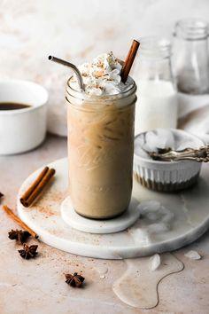 Iced Chai Latte Iced Chai Latte Recipe, Hot Chocolate Latte, Short Recipes, Sweet Bourbon, Non Alcoholic Cocktails, Ice Milk, Flavored Milk, Coconut Whipped Cream, Tea Latte