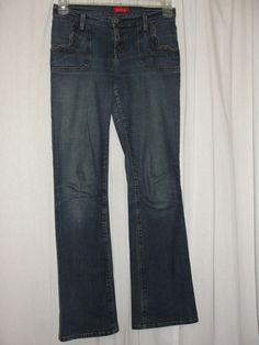 Vintage bebe Stitch Accent Trim Two Pocket Stretch Jeans Flare Leg Size 27 #bebe #Flare