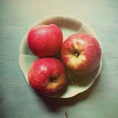 Trio Art Print, apples, rustic, wall art, food photography, modern vintage, farmhouse chic, red, mint green, aqua