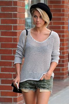 Julianne Hough shows off the perfect accessory to wear with a short haircut.