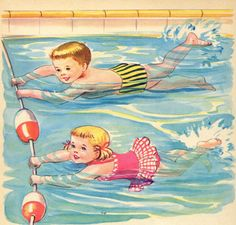 one of my favorite memories in our old town pool:) Children's Book Illustration, Character Illustration, Vintage Children's Books, Vintage Art, Baby Painting, Free Printable Art, Learn To Swim, Retro Baby, Kids Story Books