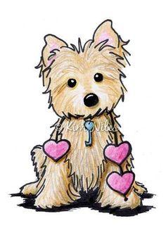 Art: Cairn Terrier Heart Strings by Artist KiniArt