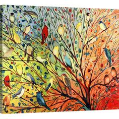 Great Big Canvas 'Twenty Seven Birds' by Jennifer Lommers Painting Print on Wrapped Canvas #design