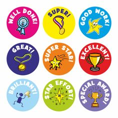 Buy Well Done Praise Stickers from School Stickers. All our products are customizable with your school name. Teacher Stickers, Reward Stickers, Free Printable Stickers, Kids Stickers, Planner Stickers, Free Printables, Kids Awards, Teacher Awards, Student Rewards