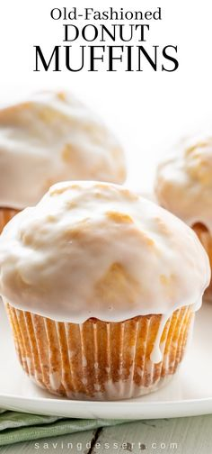 Old Fashioned Donut Muffins - these easy to make treats have a big vanilla flavor, a moist, fluffy crumb and a light glaze for a touch of added sweetness. # Baking muffins Old Fashioned Donut Muffins Donut Recipes, Muffin Recipes, Baking Recipes, Dessert Recipes, Donut Muffins, Baked Donuts, Bakery Muffins, Old Fashioned Donut, Old Fashioned Recipes