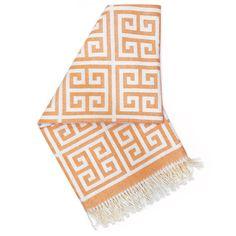 Jonathan Adler Modern Blankets And Throws | Orange Greek Key Alpaca Throw | in Throws