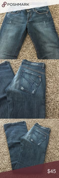AWESOME JAMES JEANS OUTSTANDING CONDITION!! These are a lightly distressed pair of premium denim by James Jeans! Awesome coloring. Size 26. Inseam 33!! Flare bottoms James Jeans Jeans Flare & Wide Leg