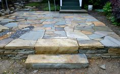 Stone Steps And Retaining Walls Are Effective Ways To Deal With Sloping  Yards And Gardens In The Mountains Of Asheville, North Carolina.
